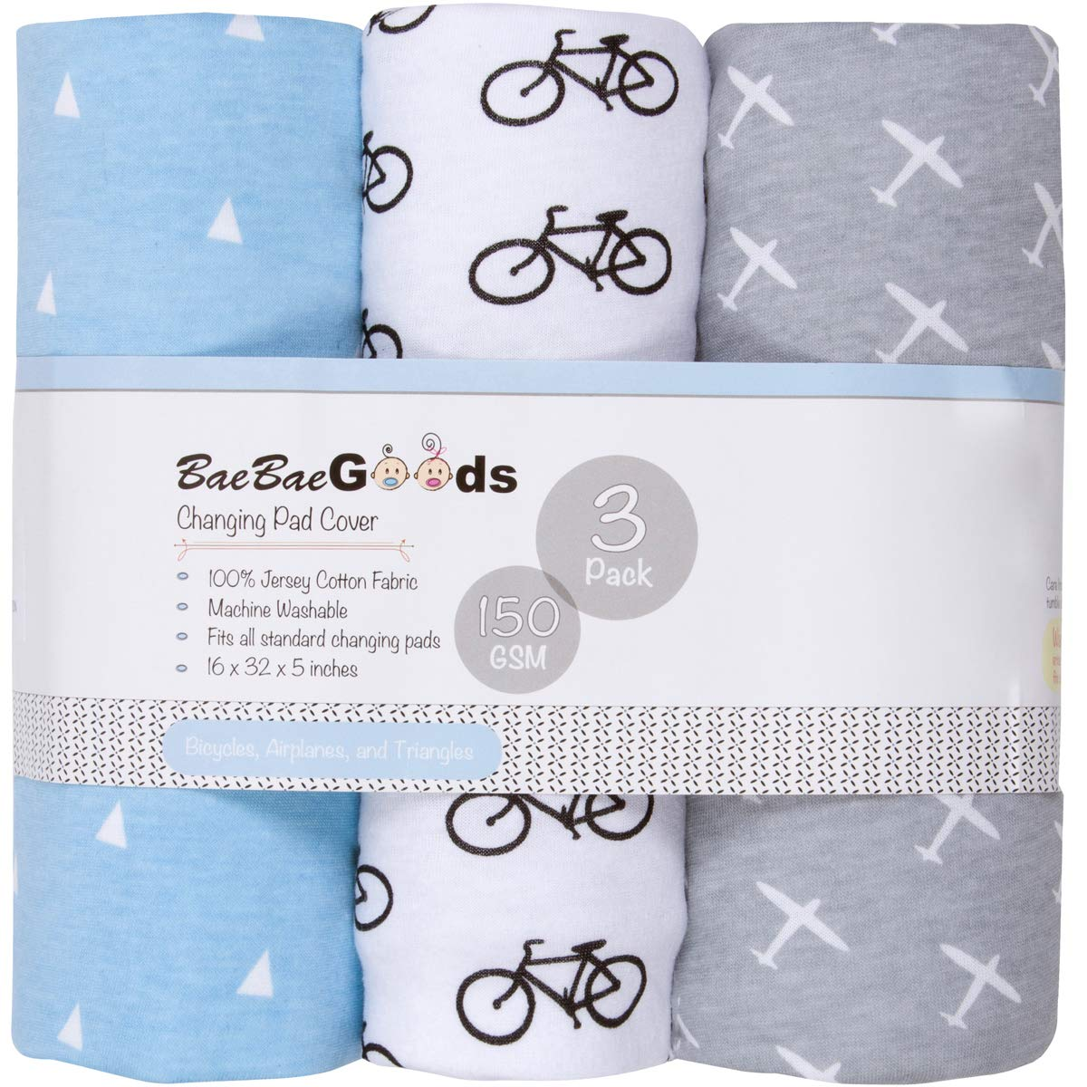 Changing Pad Cover Set | Cradle Bassinet Sheets/Change Table Covers for Boys & Girls | Super Soft 100% Jersey Knit Cotton | Grey and White | 150 GSM | 3 Pack BaeBae & Company