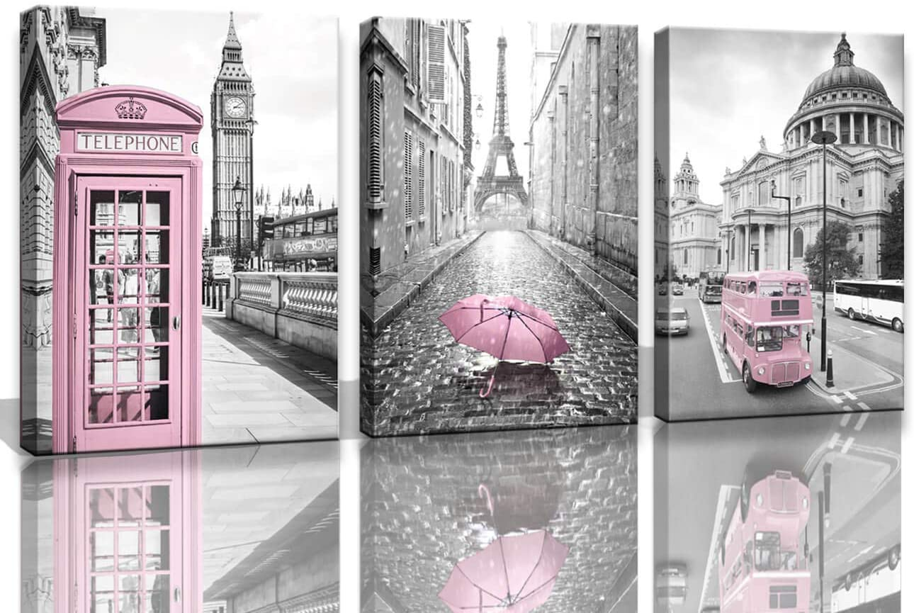 Amazon Com Paris Eiffel Tower Decor For Bedroom Girls Pink Theme Room Wall Art Canvas Black And White Pictures Decorations London Big Ben Painting