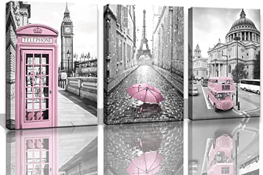 Paris Eiffel Tower Decor for Bedroom for Girls Pink Paris Theme Room Decor  Wall Art Canvas Black and White Art Eiffel Tower Pictures Decorations ...
