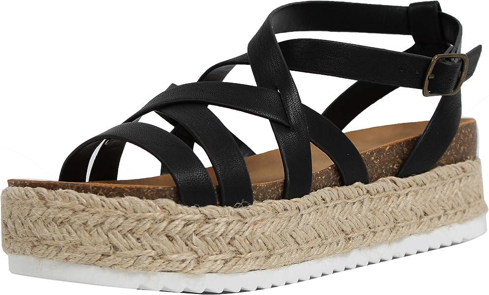 e98f7c5c56e Amazon.com  SODA Women s Open Toe Strappy Espadrille Flatform Sandal ...