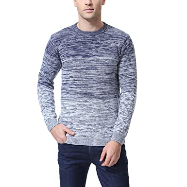 Bravepe Mens Regular Fit Round Neck Stylish Color Block Knitted Pullover Sweater