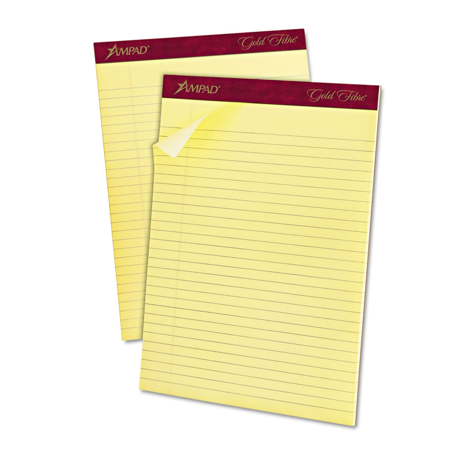 Ampad Gold Fibre Letter Size Perforated Pads, 8 1/2 x 11 3/4 Inches, Legal Ruling, Canary Paper, 50 Sheets Per Pad, 12 Pack (20-020)