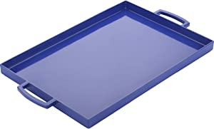 Zak Designs Perfect Living Room Kitchen Metal Handles Zak Serving Trays, MeeMe Large, Blue