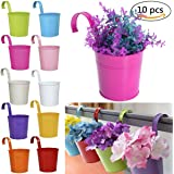 Hanging Flower Pot Colorful Metal Iron Plant Pot for Hanging on Balcony Wall Garden Home Decor, Assorted 10 Pack