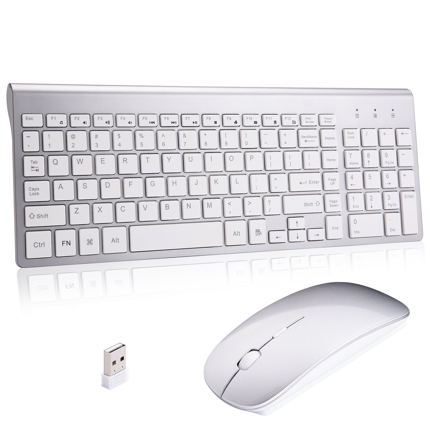 Wireless Keyboard and Mouse Combo,Ultra Slim with Mute Whispe-Quiet Keys for Laptop Notebook Mac PC Computer Windows OS Android (LC-TZ22-2)