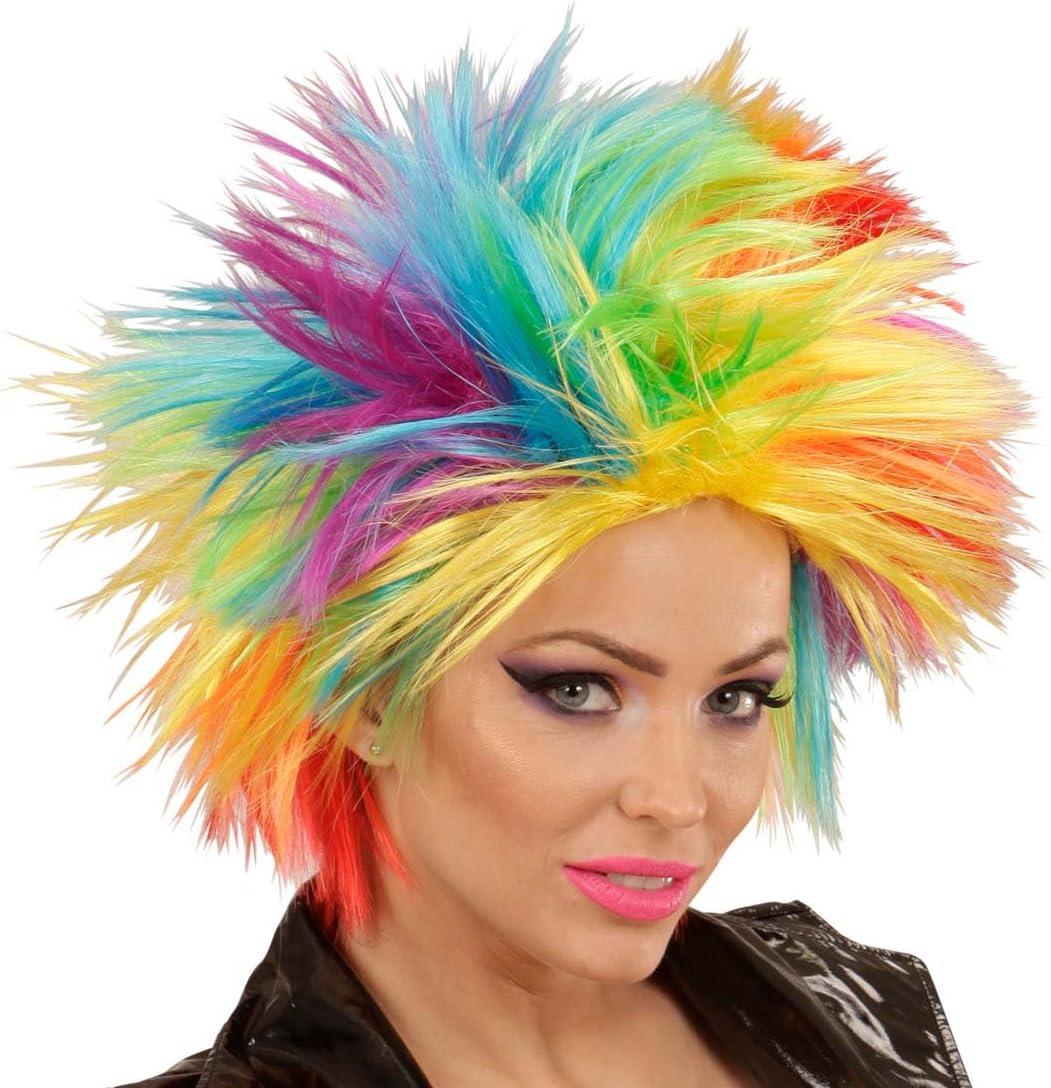 NET TOYS Peluca arcoíris Mujer Pelo Punk Cabello postizo de Color ...