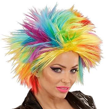 NET TOYS Peluca arcoíris Mujer Pelo Punk Cabello postizo de Color Cabellera Carnaval punkarra Melena roquera