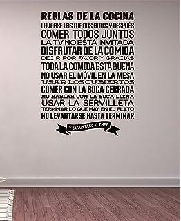 pdasd Quotes Art Decals Vinyl Removable Stickers Modern Design Reglas De La Cocina Spanish Kitchen Rules