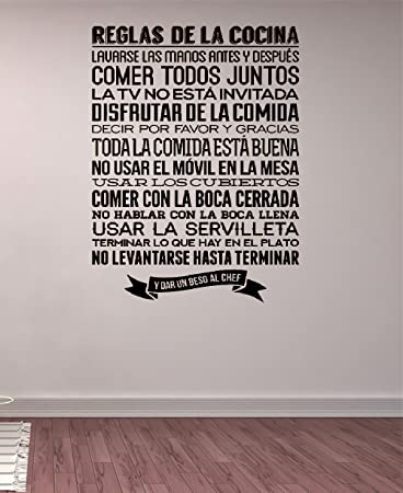 pdasd Quotes Art Decals Vinyl Removable Stickers Modern Design Reglas De La Cocina Spanish Kitchen Rules