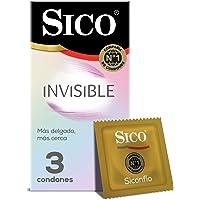 Sico Invisible Ultra Sense Condones de hule látex natural cartera con 3 piezas