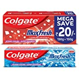 Colgate Max Fresh Anticavity Toothpaste Gel, Spicy Fresh - 300gm with Colgate Max Fresh Anti-Cavity Toothpaste, Peppermint Ice, 150gm