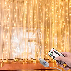 Gytf Curtain Lights, USB Powered Twinkle Lights,(300 LED 9.8ftx9.8ft) IP64 Waterproof String Lights for Bedroom Party Wedding Windows Wall Decorations,Warm White