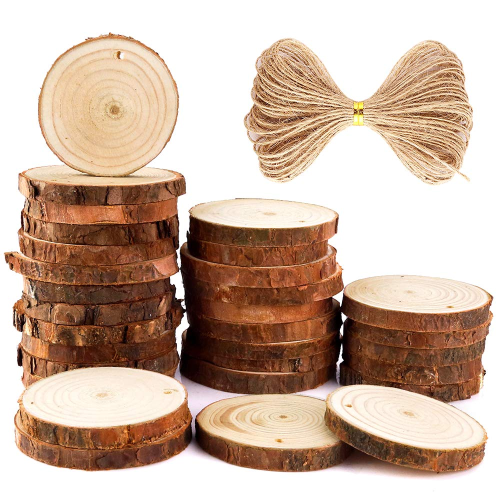 Caydo 30 Pieces 2.4-2.8 Inch Unfinished Predrilled Wood Slices Round Log Discs and 33 Feet Natural Jute Twine for Christmas Ornaments and Home Hanging Decorations