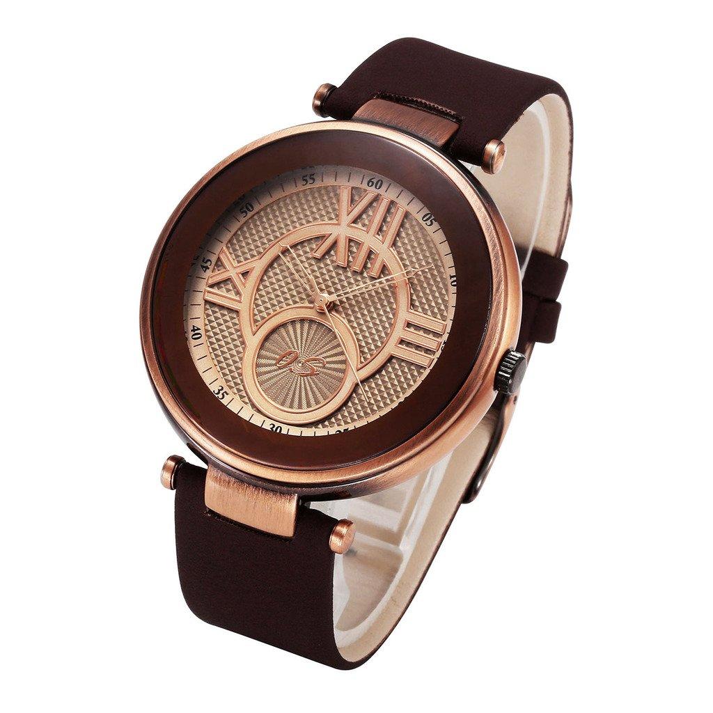 JSDDE Damen Herren Armbanduhr Klassische Roemische Ziffern Armbanduhr Echtleder Armband Analog Quarzuhr,Kaffee