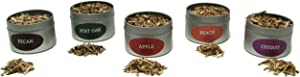 Jax Smok'in Tinder Extra Fine Smoke Gun Wood Chips Variety Pack - Five of Our Popular Premium Fine Chips in 4 Ounce Tins for Handheld Smoke Infuser (Apple, Post Oak, Pecan, Cherry, Peach)