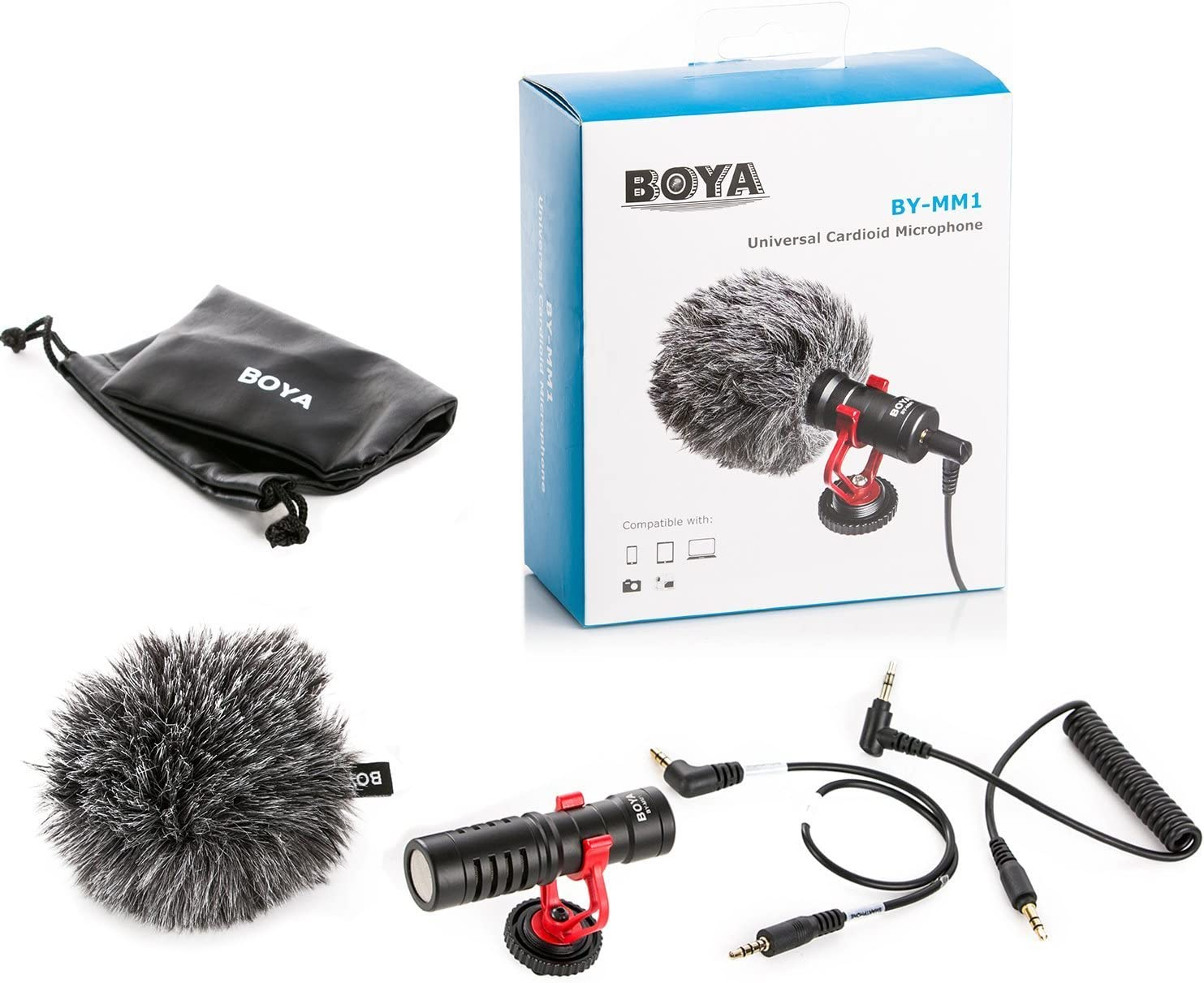 BOYA by-MM1 Shotgun Video Microphone with Shock Mount Deadcat Windscreen Case Compatible with iPhone//Andoid Smartphones Canon EOS//Nikon DSLR Cameras Camcorders for Live Streaming Audio Recording