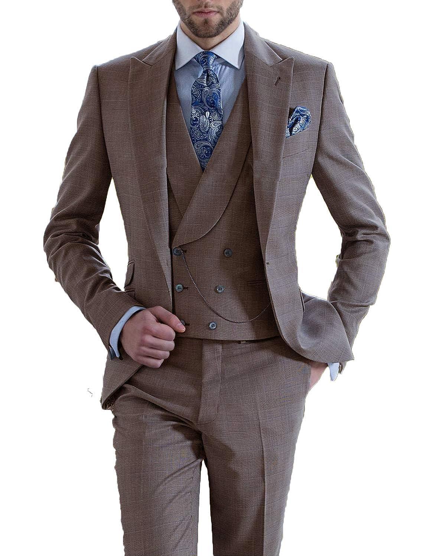 DGMJ Mens 3 Piece Suits Slim Fit Mens Suits for Wedding Party Tuxedo XZ021