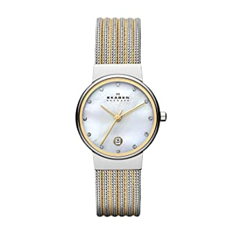 Skagen 355SSGS Ladies Two Tone Striped Watch