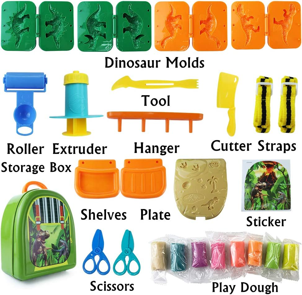 Dear Deer Kids Play Dough Dinosaur World Play Dough Set Creations Tools Pretend Play Toy Kit with Storage Backpack Dough and Molds for Kids 26 Pieces