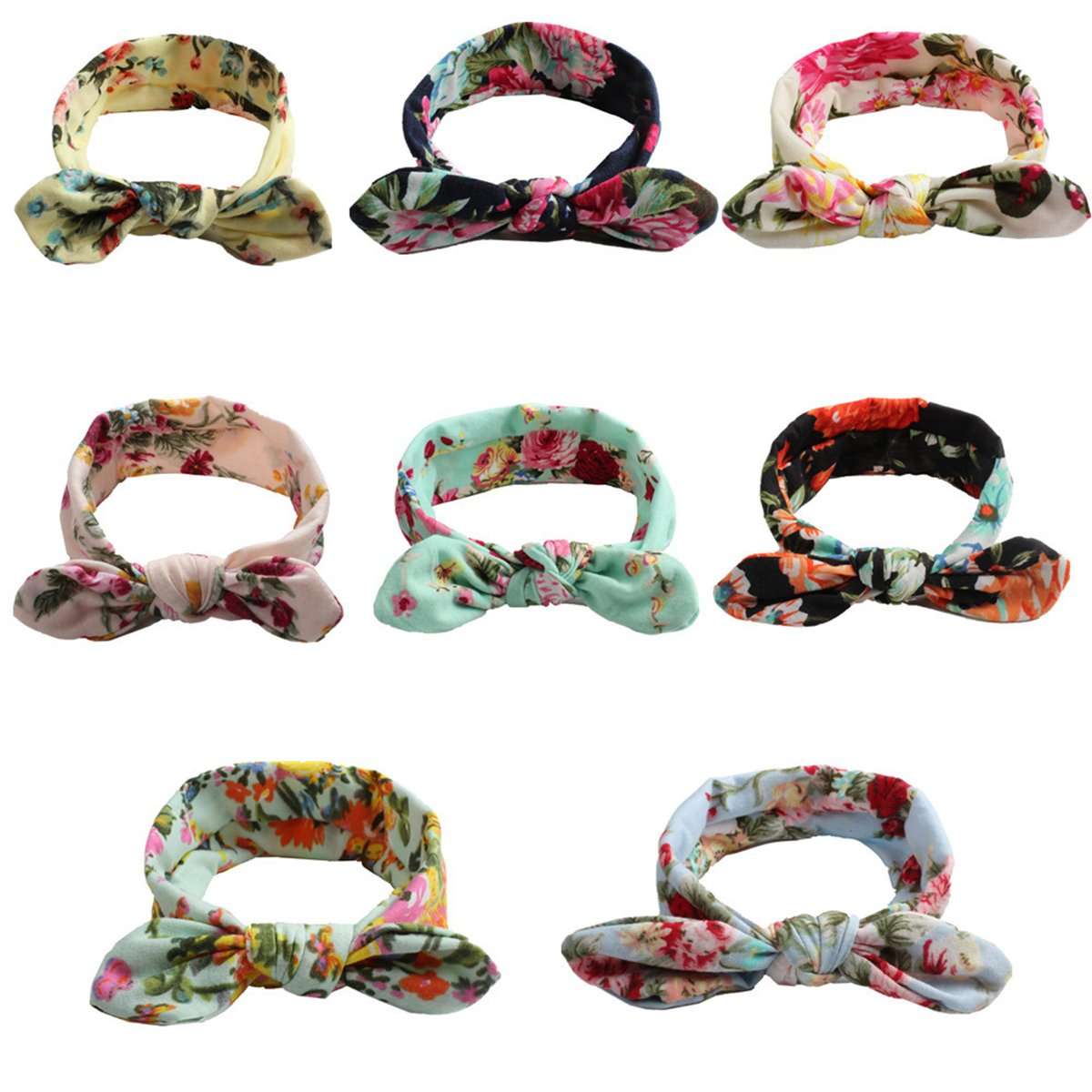 Calliar Baby Headbands Head-Scarf Hairbands for Newborn,Toddler and Childrens,8 Pack-Color 2