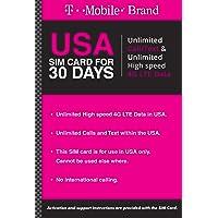 T-Mobile Prepaid SIM Card Unlimited Talk, Text, and Data (UNL Talk, Text, Data 30 Days).