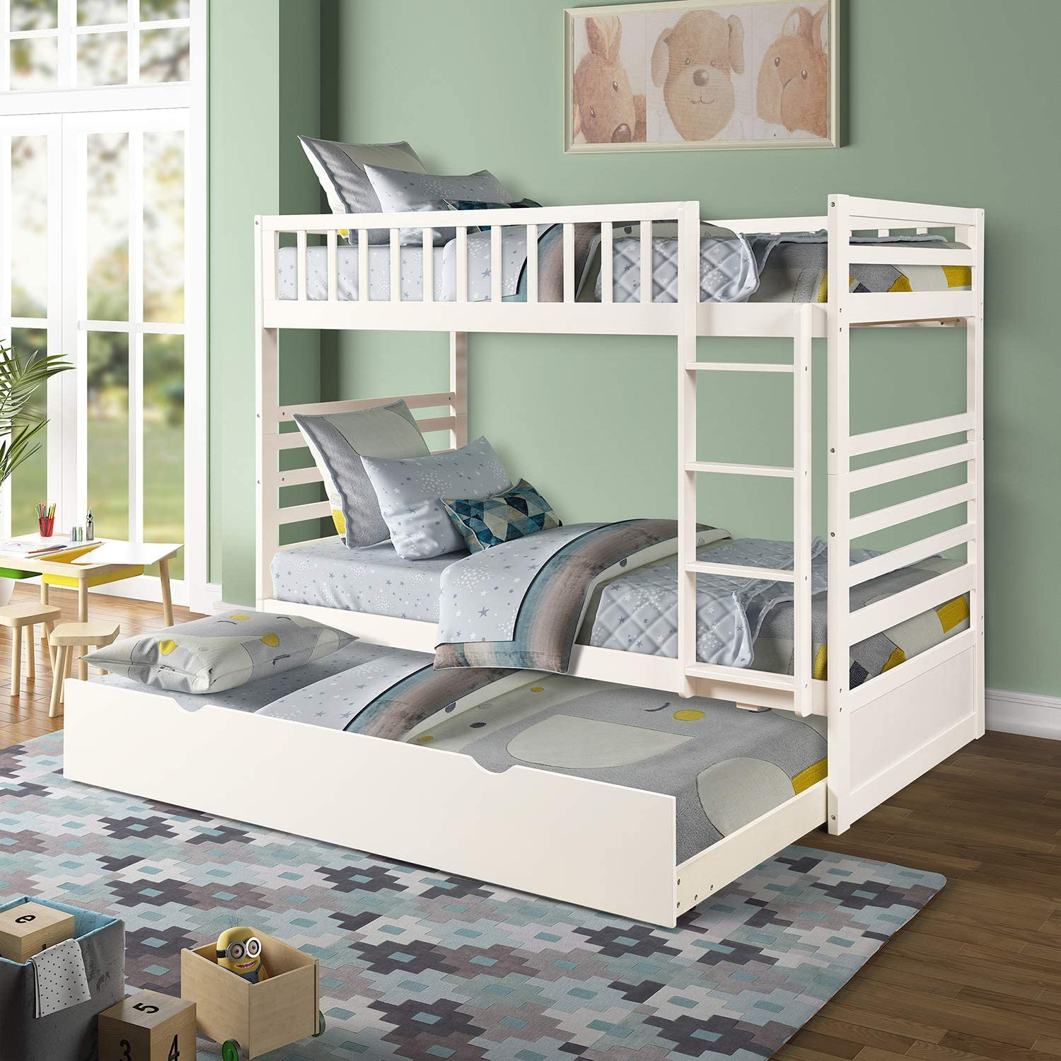 Amazon Com Twin Over Twin Bunk Bed Rockjame Space Saving Design Sleeping Bedroom Furniture With Trundle Solid Wood Bunk Bed Ladder And Safety Rail For Boys And Girls White Kitchen Dining