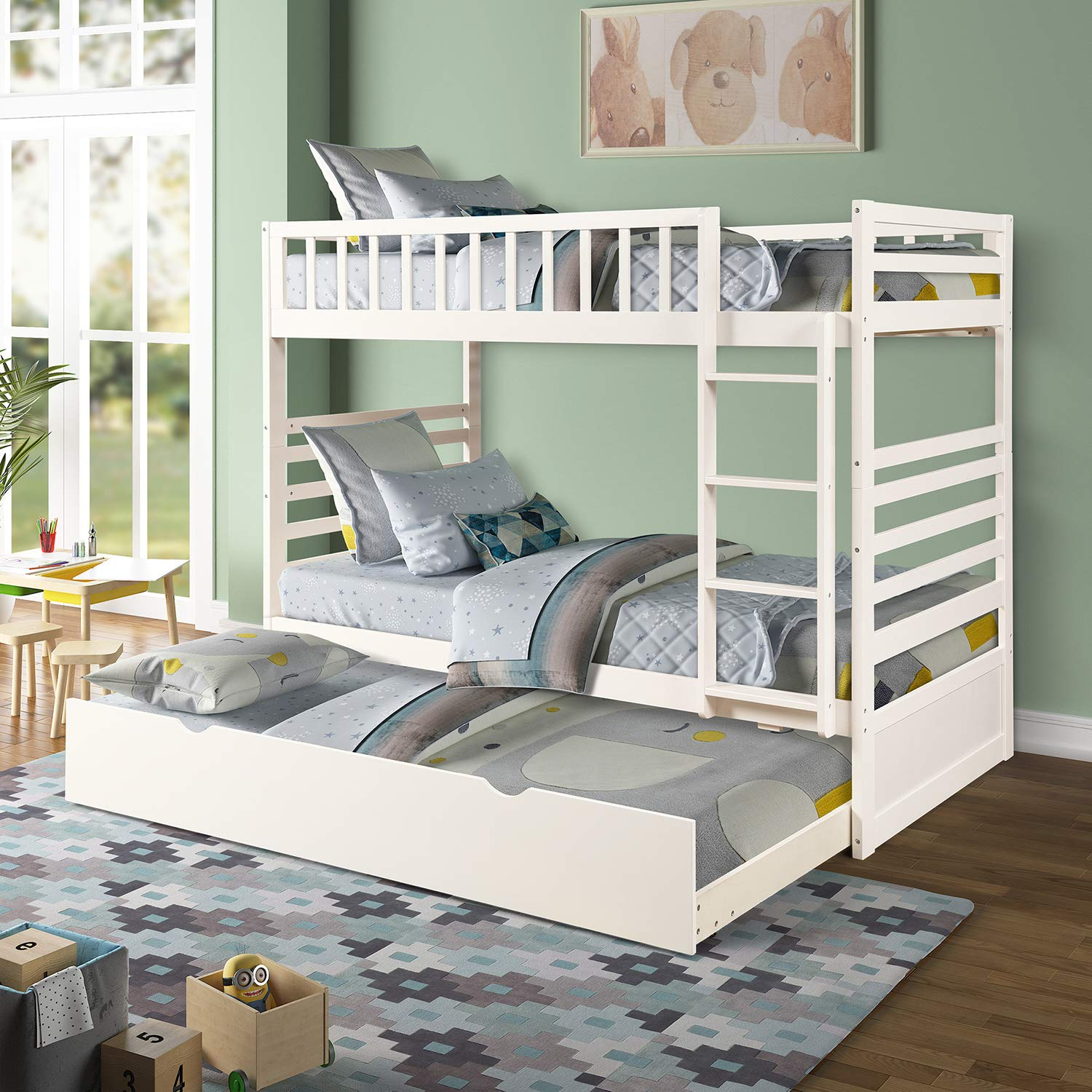 Twin Over Twin Bunk Bed, Rockjame Space Saving Design Sleeping Bedroom Furniture with Trundle Solid Wood Bunk Bed, Ladder and Safety Rail for Boys and Girls White