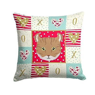 Caroline's Treasures CK5121PW1414 Highlander Lynx Cat Love Fabric Decorative Pillow, 14Hx14W, Multicolor : Garden & Outdoor
