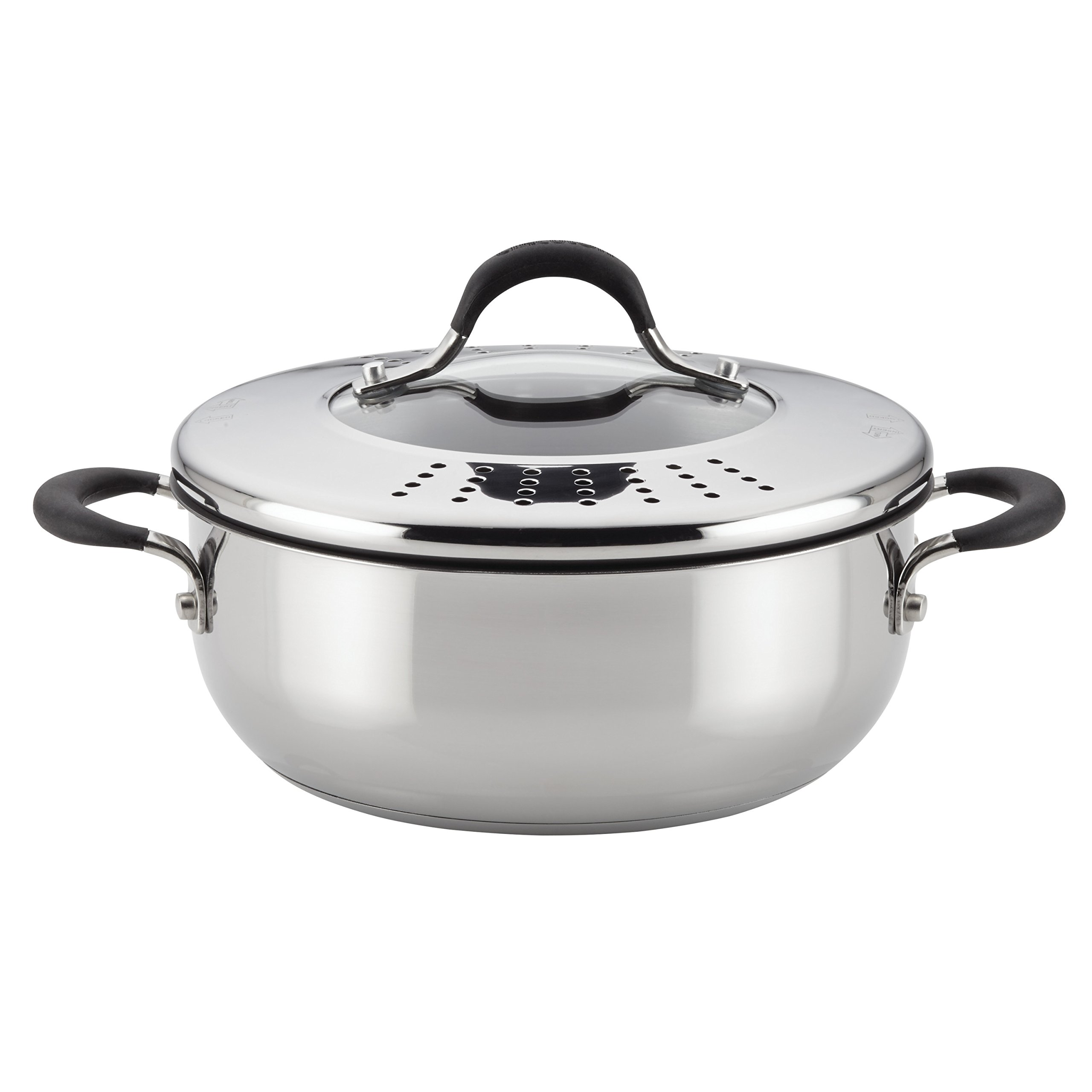 Circulon Momentum Stainless Steel Nonstick 4-Quart Covered Casserole with Locking Straining Lid