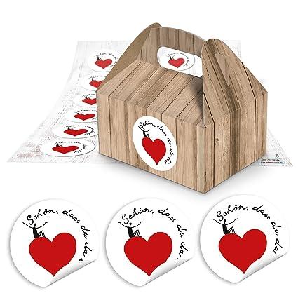 24 pequeñas cajas de regalo del paquete en aspecto de madera de marrón (9 x