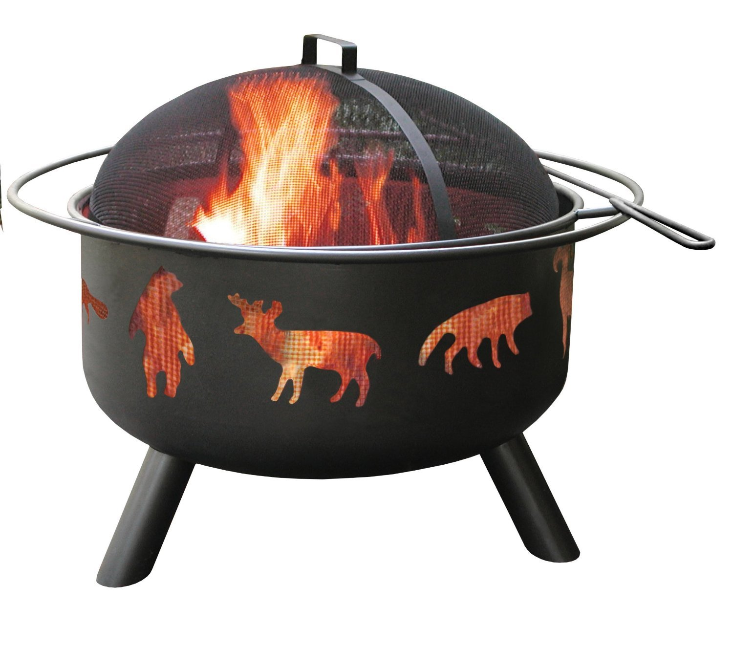 Landmann 28347 Big Sky Wildlife Fire Pit, Black, 12.5-inches Deep