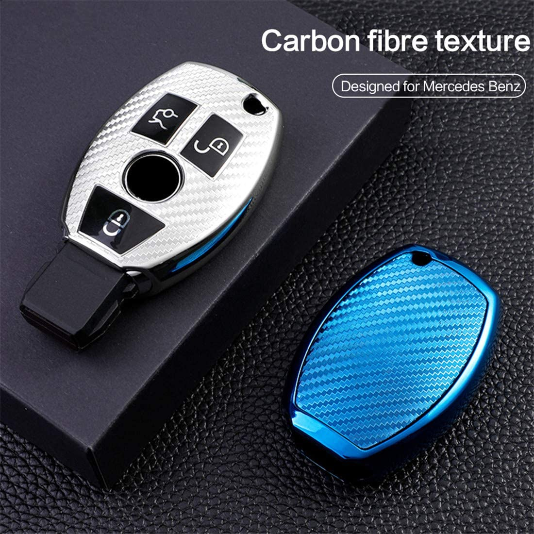Premium Soft TPU Carbon fiber Key Case Cover Compatible with Mercedes Benz C E S M CLS CLK G Class Keyless Smart Key Fob+1pac keychain Silver for Mercedes Benz Key Fob Cover