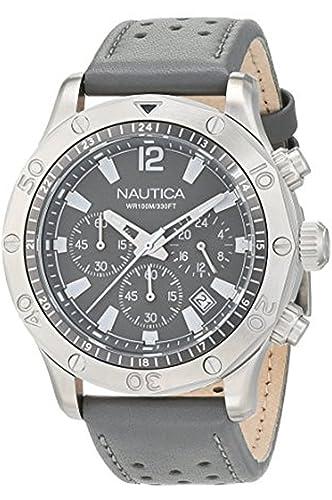 7f219b9b733b nautica- NST 21 Reloj para Hombre Analógico de Cuarzo japonés con Brazalete  de Piel de Vaca NAD16546G  Amazon.es  Relojes