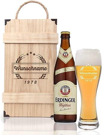 FORYOU24 - Caja de Cerveza Premium con Cristal de Trigo Leonardo del Nombre Grabado y Botella de Cerveza de Trigo día del Padre Idea de Regalo para papá: Amazon.es: Hogar