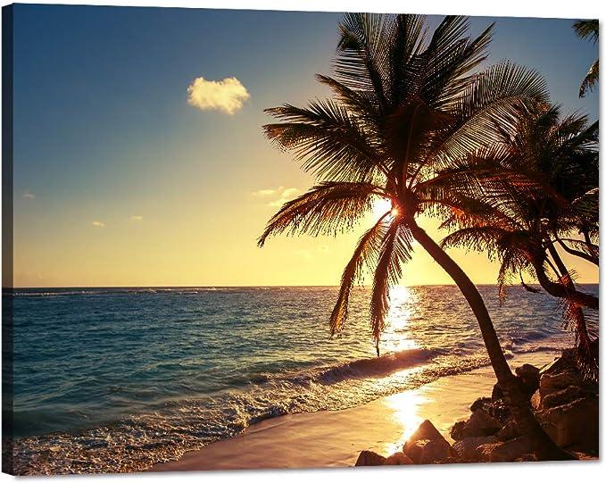 Set of 3 Palm Tree Beach Coastal Art Print Look Great Framed A3 A2 A1 A0 Size
