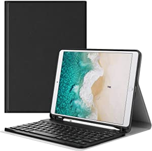 """MoKo Keyboard Case Fit New iPad Air (3rd Generation) 10.5"""" 2019/iPad Pro 10.5 2017 with Pencil Holder - Wireless Keyboard Cover Case for iPad Air 2019/iPad Pro 10.5 2017, Black"""
