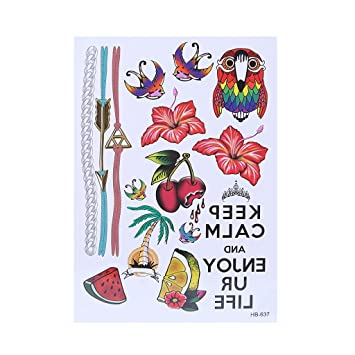 524582c38 Amazon.com : Arich 5 Sheets Waterproof Temporary Tattoo Feather Bracelet  Diamond Body Art Sticker Removable HB-637 : Beauty