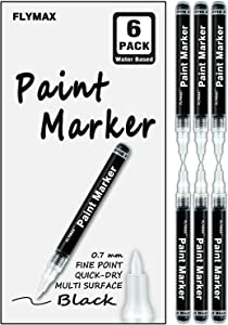 Black Acrylic Paint Pen, 6 Pack 0.7mm Acrylic Black Permanent Marker Black Paint Pen for Glass Ceramic Rock Leather Plastic Stone Metal Canvas Enamel Marker Waterproof Writing Extra Fine Point