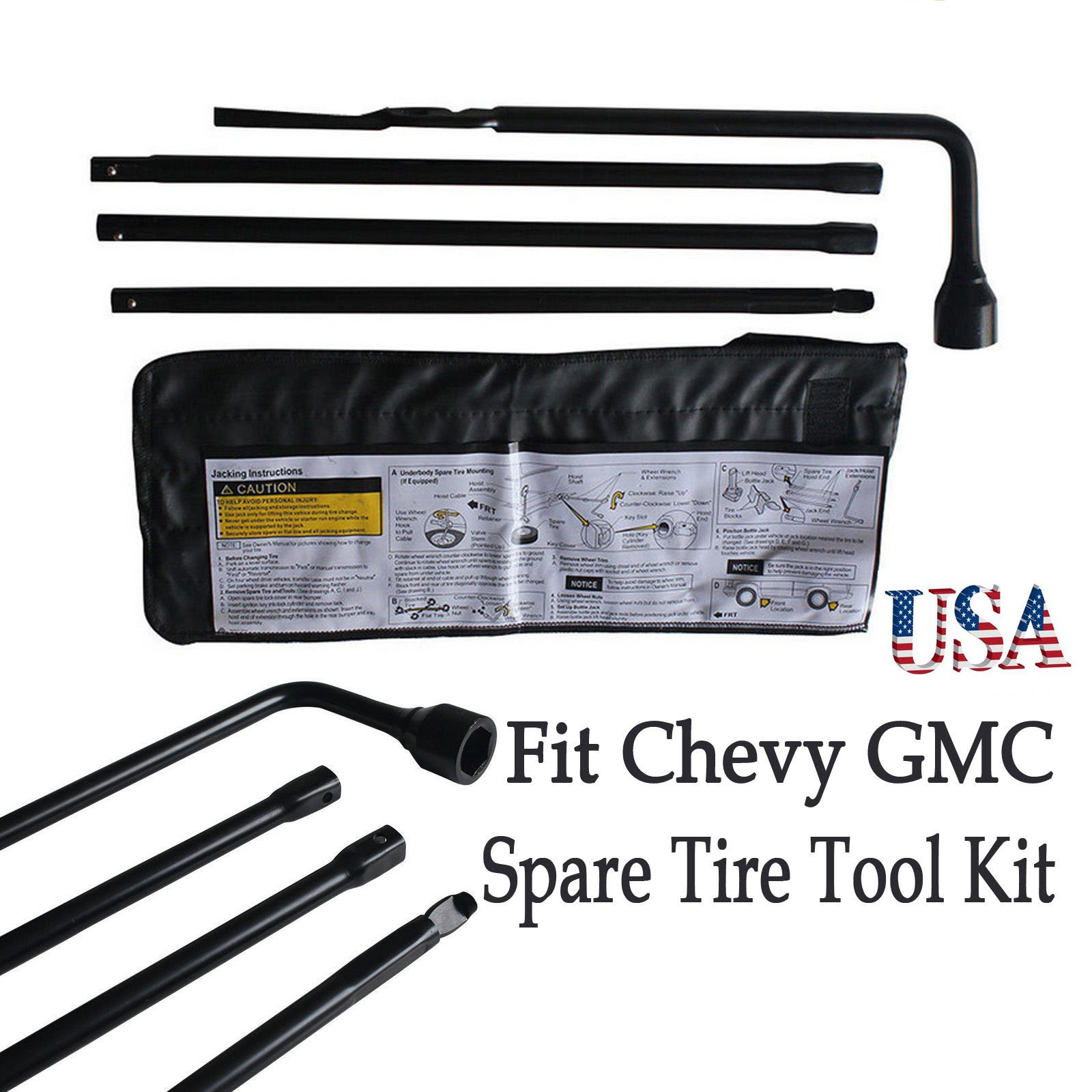 Spare Tire Tool Kit Fit For Chevy Silverado GMC Sierra with Case by Autobaba