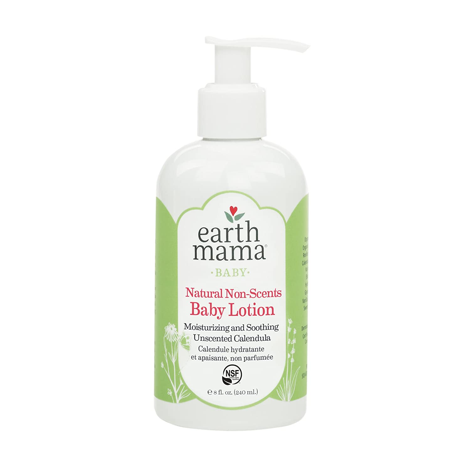 Natural Non-Scents Baby Lotion with Organic Calendula, 8 Fluid Ounce Earth Mama Angel Baby