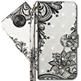 "Moto X4 Wallet Case, Motorola X4 Premium PU Leather Case, COTDINFORCA 3D Creative Painted Effect Design Full-Body Protective Cover for Motorola Moto X4 2017 (5.2"" inch). PU- Lace Flower"