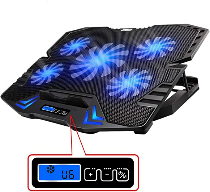 TopMate C5 12-15.6 inch Gaming Laptop Cooler Cooling Pad | 5 Quiet Fans and LCD Screen | 2400RPM Strong Wind Designed for Gamers and Office