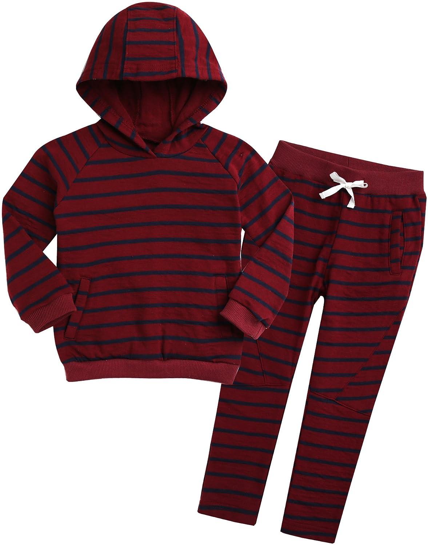 Vaenait baby 18M-7T Kids Boys 100% Cotton Pullover Hoodies and Pants Jog Set Bengdi HS-001
