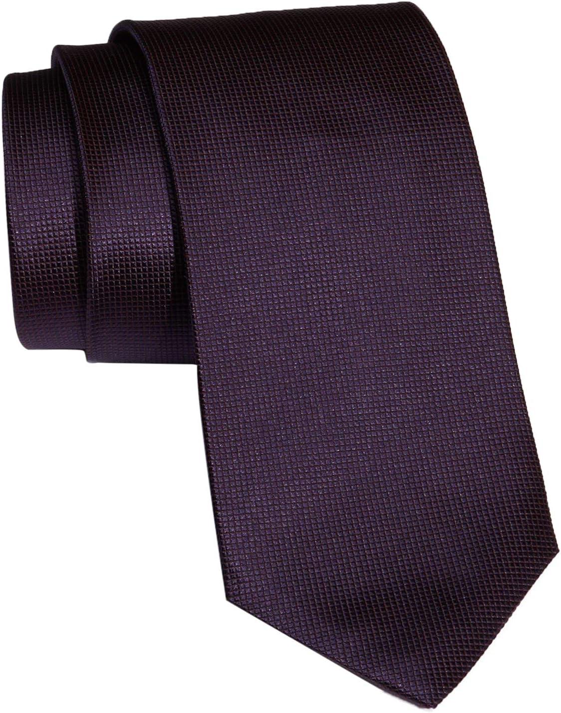 Dark Purple 50242433 Boss Hugo Boss Micro-checked Pattern Italian Silk Tie