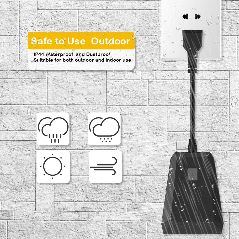 WIFI Outdoor Smart Plug Outlet 1 in 3 out Digyssal Wi-Fi Outlet Waterproof IP44 for Indoor//Outdoor Use Compatible with Alexa and Google Home Assistant Wireless Remote Voice Control Lights Timer