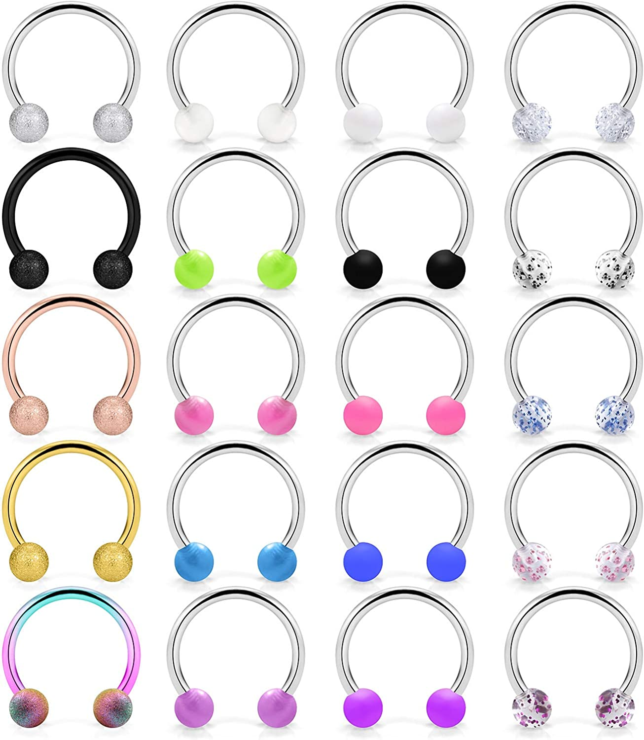 Ocptiy 20Pcs 16G Surgical Steel Septum Jewelry Cartilage Helix Tragus Earring Nose Lip Hoop Rings Piercing Jewelry Horseshoe Retainer for Women Men 10mm