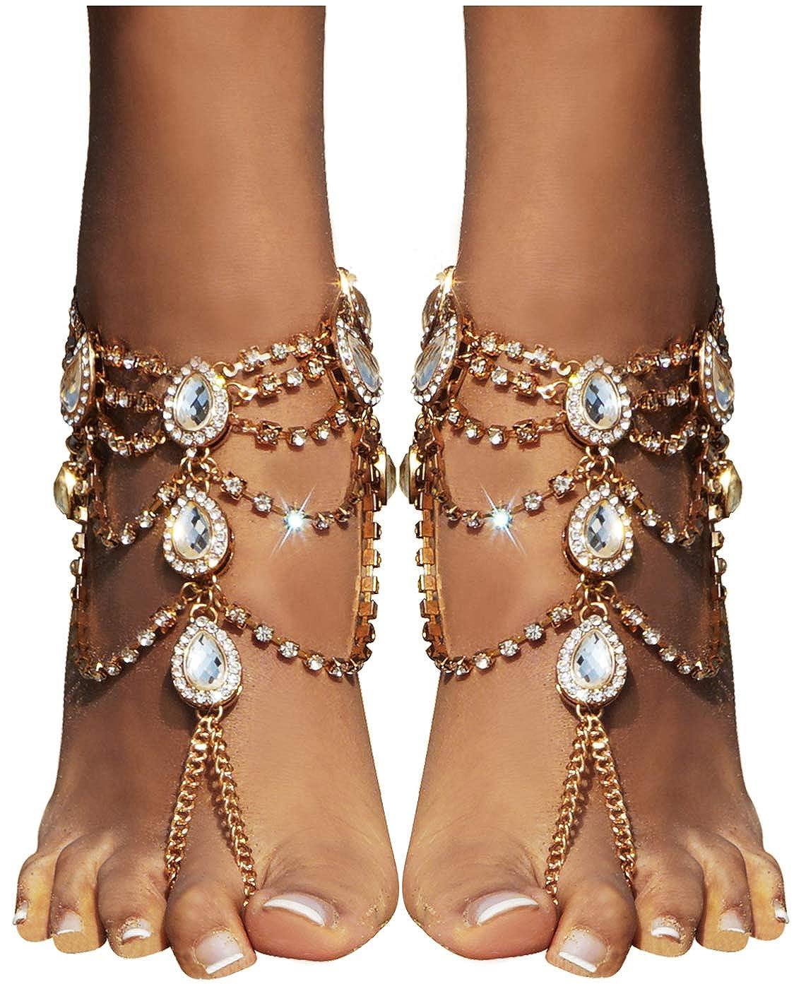 ebdd87c9752f Amazon.com  Bienvenu 2 PCS Crystal Beach Wedding Foot Jewelry Barefoot  Sandals Toe Ring Boho Anklet with Multi Tassel