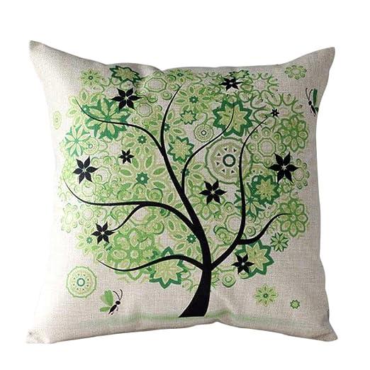 Funda cojín, Árbol de Flores Funda de Almohada Funda de cojínes para sofá Cintura Decoración del hogar (45cm*45cm, Verde)