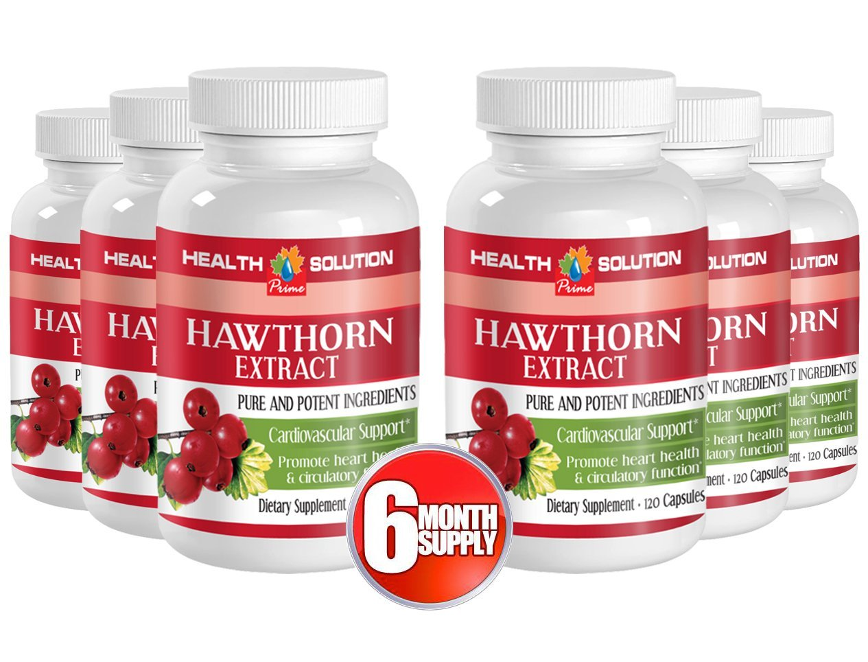 Cayenne and Garlic - Hawthorn Extract - Support Heart (6 Bottles)