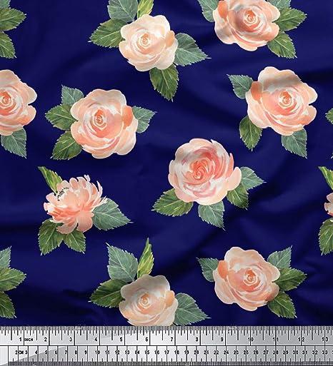 Soimoi Azul gasa de algodon Tela hojas y la fe se levanto floral tela artesanal impresa por metro 58 Pulgadas de ancho: Amazon.es: Hogar